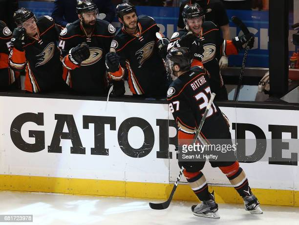 Nick Ritchie of the Anaheim Ducks celebrates scoring the goahead goal against the Edmonton Oilers in Game Seven of the Western Conference Second...
