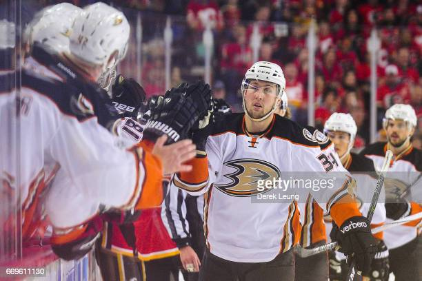 Nick Ritchie of the Anaheim Ducks celebrates with the bench after scoring against the Calgary Flames in Game Three of the Western Conference First...