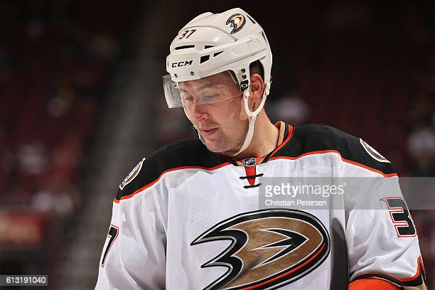 Nick Ritchie of the Anaheim Ducks during the preseason NHL game against Arizona Coyotes at Gila River Arena on October 1 2016 in Glendale Arizona The...