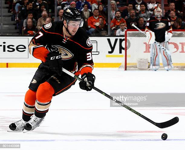 Nick Ritchie of the Anaheim Ducks handles the puck during the game against the Tampa Bay Lightning on December 2 2015 at Honda Center in Anaheim...
