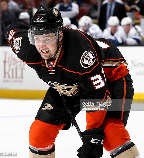 Nick Ritchie of the Anaheim Ducks looks on during the game against the Tampa Bay Lightning on December 2 2015 at Honda Center in Anaheim California