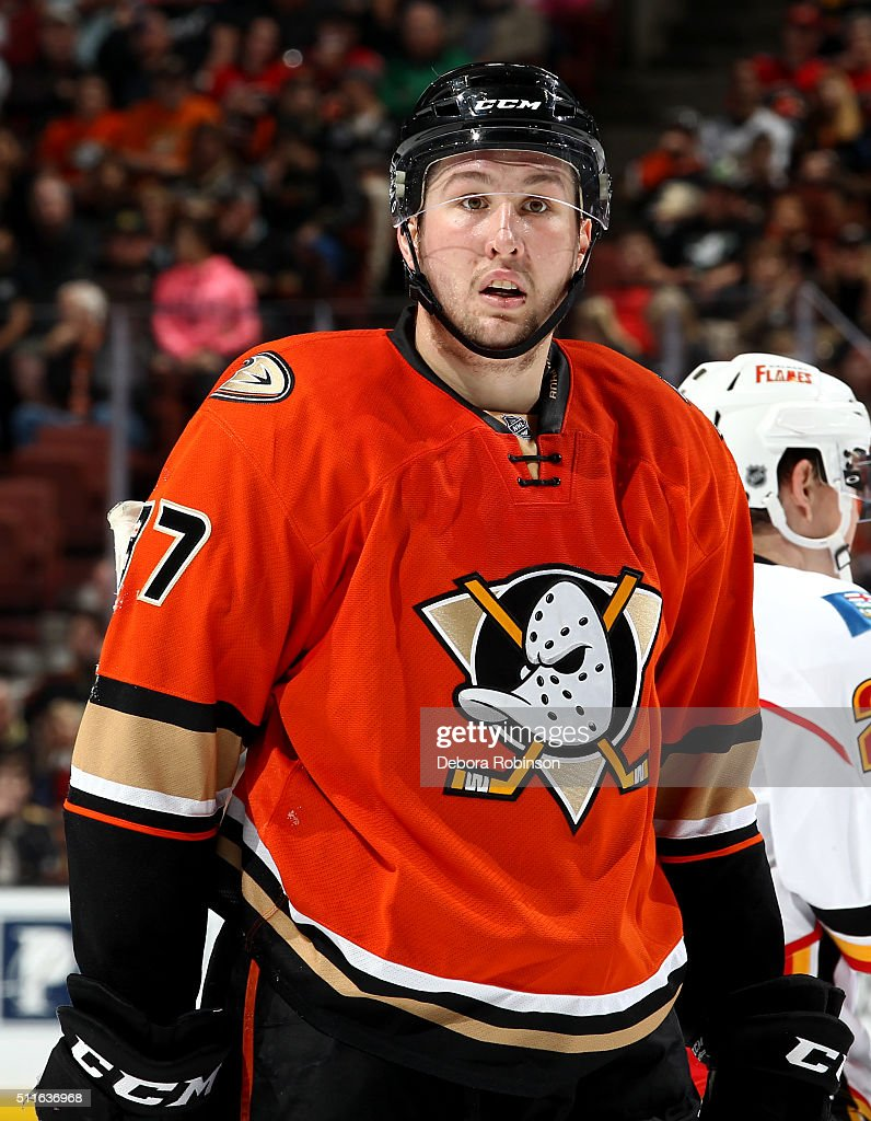 Nick Ritchie #37 of the Anaheim Ducks looks on during the game against the Calgary Flames on February 21, 2016 at Honda Center in Anaheim, California.