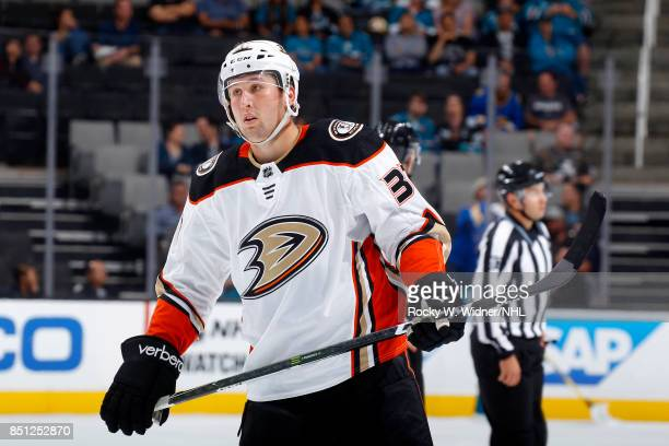 Nick Ritchie of the Anaheim Ducks looks on during the game against the San Jose Sharks at SAP Center on September 19 2017 in San Jose California