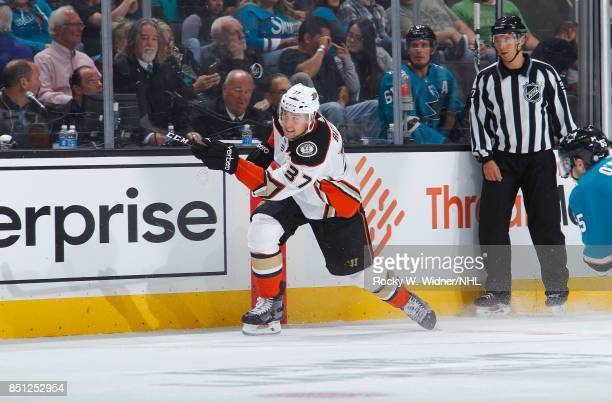 Nick Ritchie of the Anaheim Ducks passes the puck against the San Jose Sharks at SAP Center on September 19 2017 in San Jose California