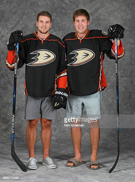 Nick Ritchie of the Anaheim Ducks poses for an NHLPA Rookie Showcase portrait at the Westin Harbour Castle on August 312015 in Toronto Ontario Canada