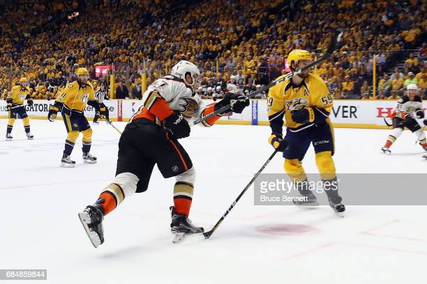 Nick Ritchie of the Anaheim Ducks scores a goal against Pekka Rinne of the Nashville Predators during the second period in Game Four of the Western...
