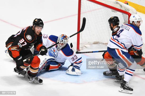 Nick Ritchie of the Anaheim Ducks scores the gamewinning goal in the third period against Cam Talbot of the Edmonton Oilers in Game Seven of the...