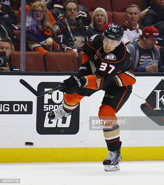 Nick Ritchie of the Anaheim Ducks skates against the Edmonton Oilers at the Honda Center on January 25 2017 in Anaheim California The Oilers shutout...