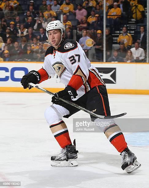 Nick Ritchie of the Anaheim Ducks skates against the Nashville Predators during an NHL game at Bridgestone Arena on November 17 2015 in Nashville...