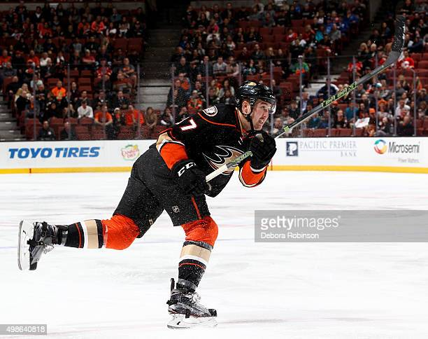 Nick Ritchie of the Anaheim Ducks skates during the game against the Calgary Flames on November 24 2015 at Honda Center in Anaheim California