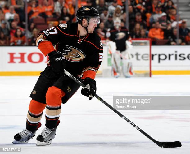 Nick Ritchie of the Anaheim Ducks skates during the game against the Calgary Flames in Game Two of the Western Conference First Round during the 2017...