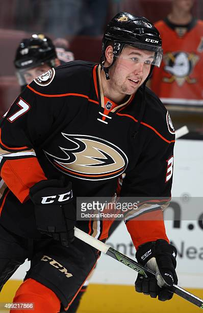 Nick Ritchie of the Anaheim Ducks skates during warm ups before the game against the Calgary Flames on November 24 2015 at Honda Center in Anaheim...