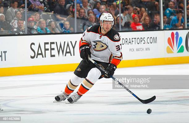 Nick Ritchie of the Anaheim Ducks skates with the puck against the San Jose Sharks at SAP Center on September 26 2015 in San Jose California