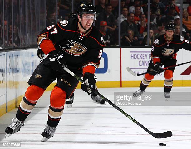 Nick Ritchie of the Anaheim Ducks skates with the puck during the game against the Edmonton Oilers on November 15 2016 at Honda Center in Anaheim...