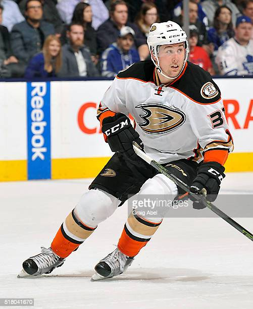 Nick Ritchie of the Anaheim Ducks turns up ice against the Toronto Maple Leafs during game action on March 24 2016 at Air Canada Centre in Toronto...