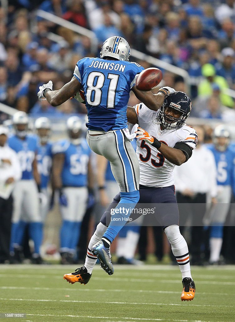 Nick Roach #53 of the Chicago Bears breaks up the pass intended for Calvin Johnson #81 of the Detroit Lions during the game at Ford Field on December 30, 2012 in Detroit, Michigan. The Bears defeted the Lions 26-24.