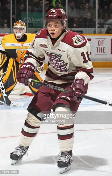 Nick Robertson of the Peterborough Petes skates against the Kingston Frontenacs in an OHL game at the Peterborough Memorial Centre on October 12 2017...