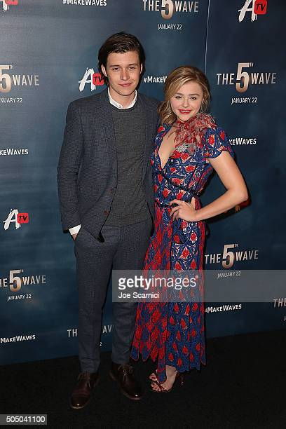 Nick Robinson and Chloe Grace Moretz arrive at AwesomenessTV Special Fan Screening Of 'The 5th Wave' at Pacific Theatre at The Grove on January 14...