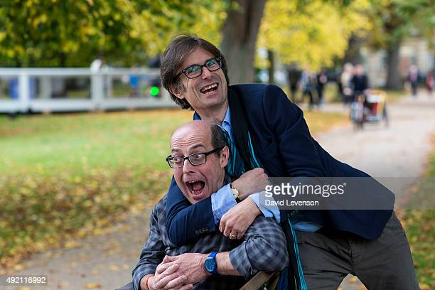 Nick Robinson BBC Political Editor jokes with his former colleague Robert Peston ITV Broadcaster whilst discussing Robinson's new book at the...