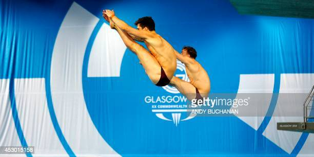 Nick RobinsonBaker and Freddie Woodward of England compete in the Men's 3m Springboard Final event at the Royal Commonwealth Pool in Edinburgh during...