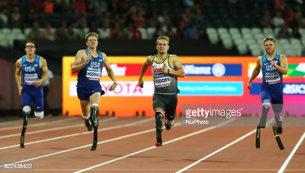 LR Nick Rodgers of USA Hunter Woodhall of USA Johannes Floors of Germany and Aj Digby of USA compete Men's 400m T43 Final during World Para Athletics...