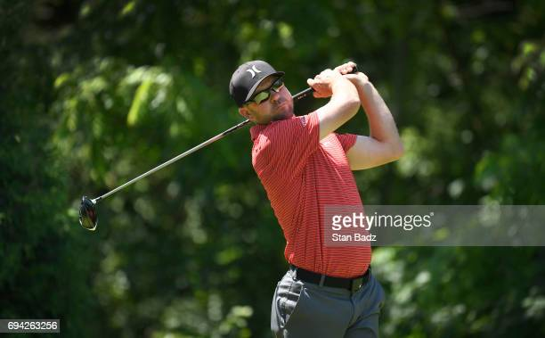 Nick Rousey hits a drive on the second hole during the second round of the Webcom Tour RustOleum Championship at Ivanhoe Club on June 9 2017 in...