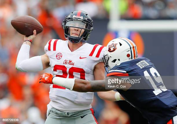 Nick Ruffin of the Auburn Tigers pressures Shea Patterson of the Mississippi Rebels at Jordan Hare Stadium on October 7 2017 in Auburn Alabama