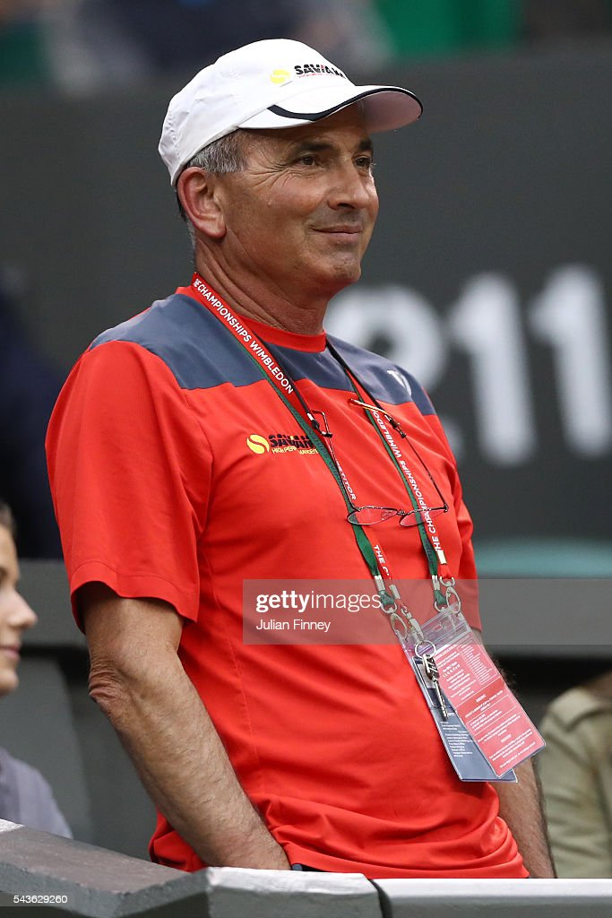 Nick Saviano the coach of Eugenie Bouchard of Canada looks on during the Ladies Singles first round match against Magdalena Rybarikova of Slovakia on day three of the Wimbledon Lawn Tennis Championships at the All England Lawn Tennis and Croquet Club on June 29, 2016 in London, England.