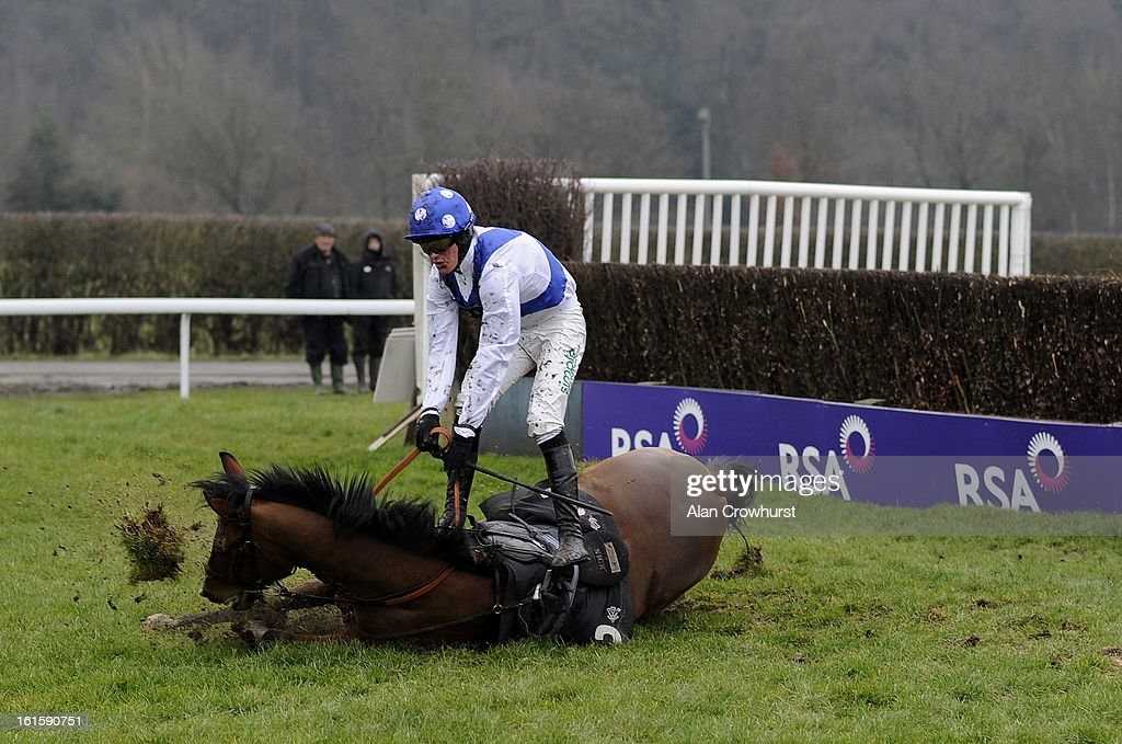 Nick Scholfield falls from Caulfields Venture in The Follow Us On Twitter @lingfieldpark Handicap Steeple Chase at Lingfield racecourse on February 12, 2013 in Lingfield, England.
