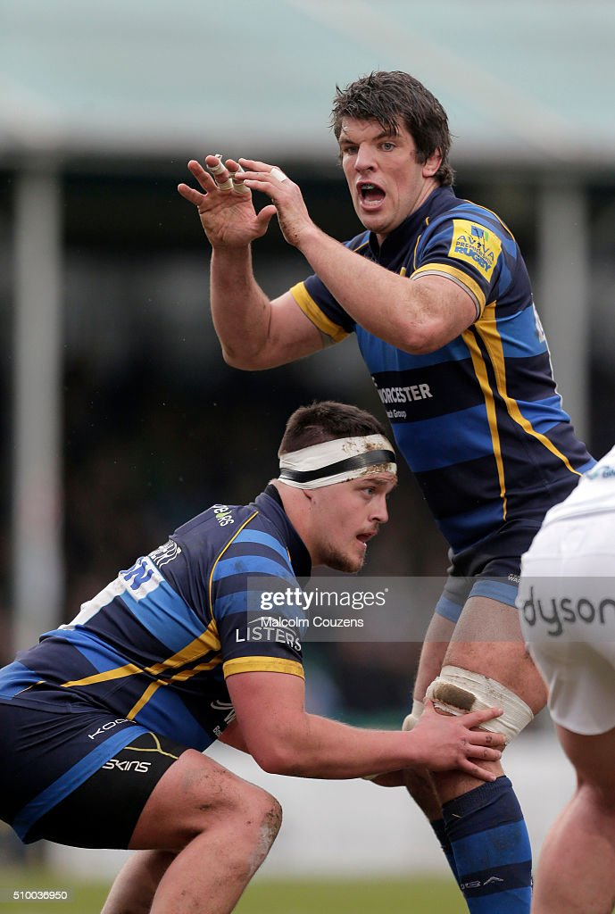 Nick Schonert of Worcester Warriors prepares to lift Donncha O'Callaghan in a line-out during the Aviva Premiership match between Worcester Warriors and Bath Rugby at Sixways Stadium on February 13th, in Worcester, England