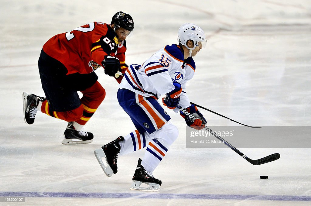 Nick Schultz #15 of the Edmonton Oilers skates with the puck as Tomas Kopecky #82 of the Florida Panthers chases during a NHL game at the BB&T Center on November 5, 2013 in Sunrise, Florida.