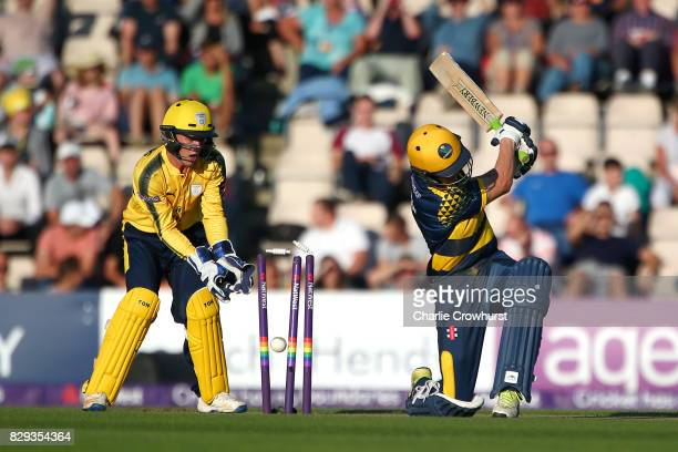 Nick Selman of Glamorgan is bowled out by Mason Crane of Hampshire while wicket keeper Calvin Dickinson looks on during the NatWest T20 Blast match...
