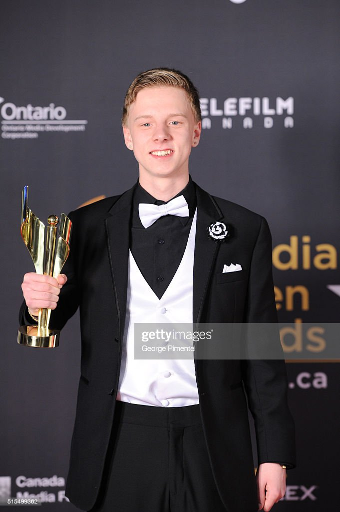 Nick Serino winner of performance by an actor in a supporting role for Sleeping Giant poses in the press room at the 2016 Canadian Screen Awards at...