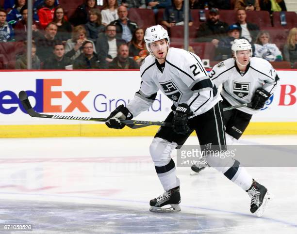 Nick Shore of the Los Angeles Kings skates up ice during their NHL game against the Vancouver Canucks at Rogers Arena March 31 2017 in Vancouver...