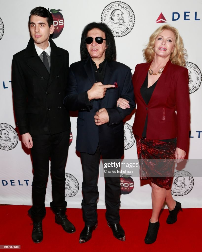 Nick Simmons, Gene Simmons and Shannon Tweed attend The Friars Club Roast Honors Jack Black at New York Hilton and Towers on April 5, 2013 in New York City.