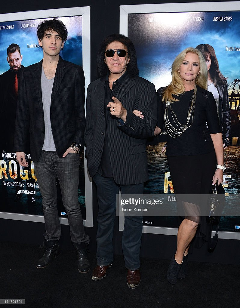 Nick Simmons, Gene Simmons and Shannon Tweed attend the premiere of 'Rogue' at ArcLight Cinemas on March 26, 2013 in Hollywood, California.