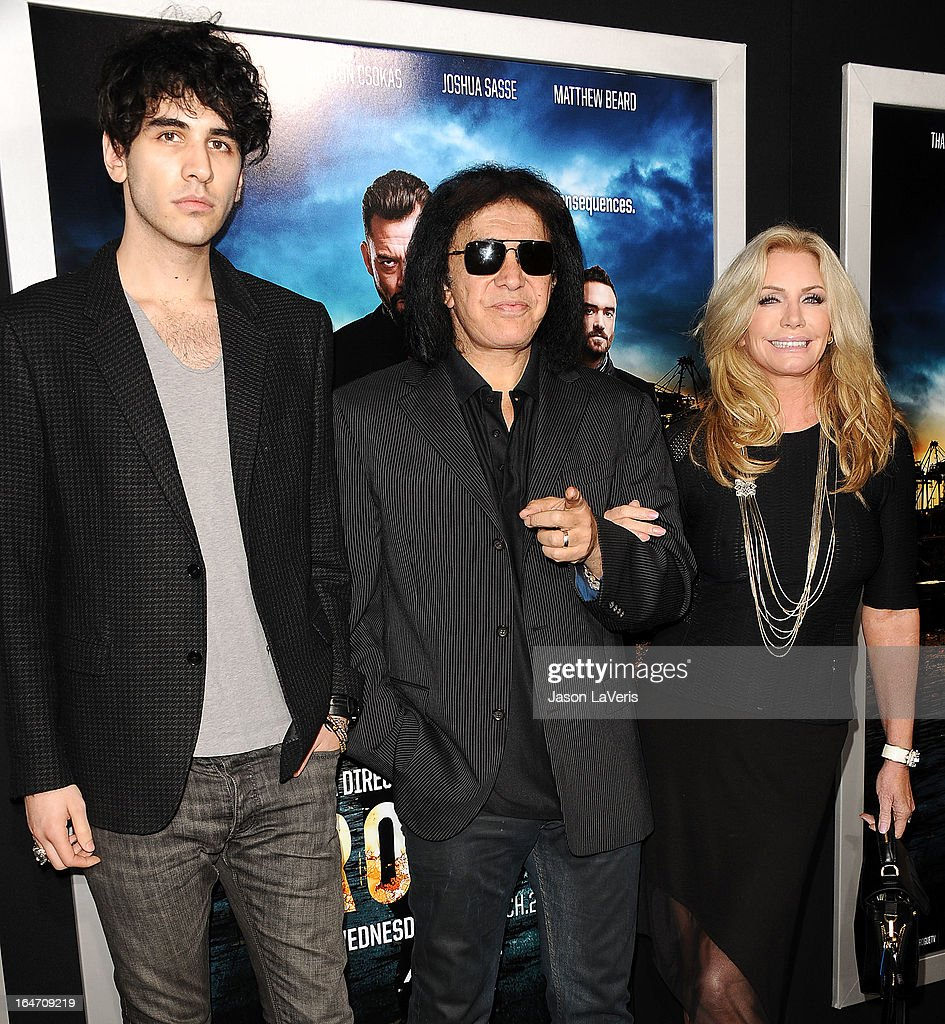 Nick Simmons, Shannon Tweed and Gene Simmons attend the premiere of 'Rogue' at ArcLight Hollywood on March 26, 2013 in Hollywood, California.
