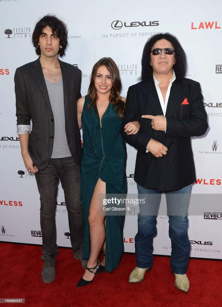 Nick Simmons Sophie Simmons and musician Gene Simmons arrive at 'LAWLESS' premiere in Los Angeles hosted By DeLeon and Presented by The Weinstein...