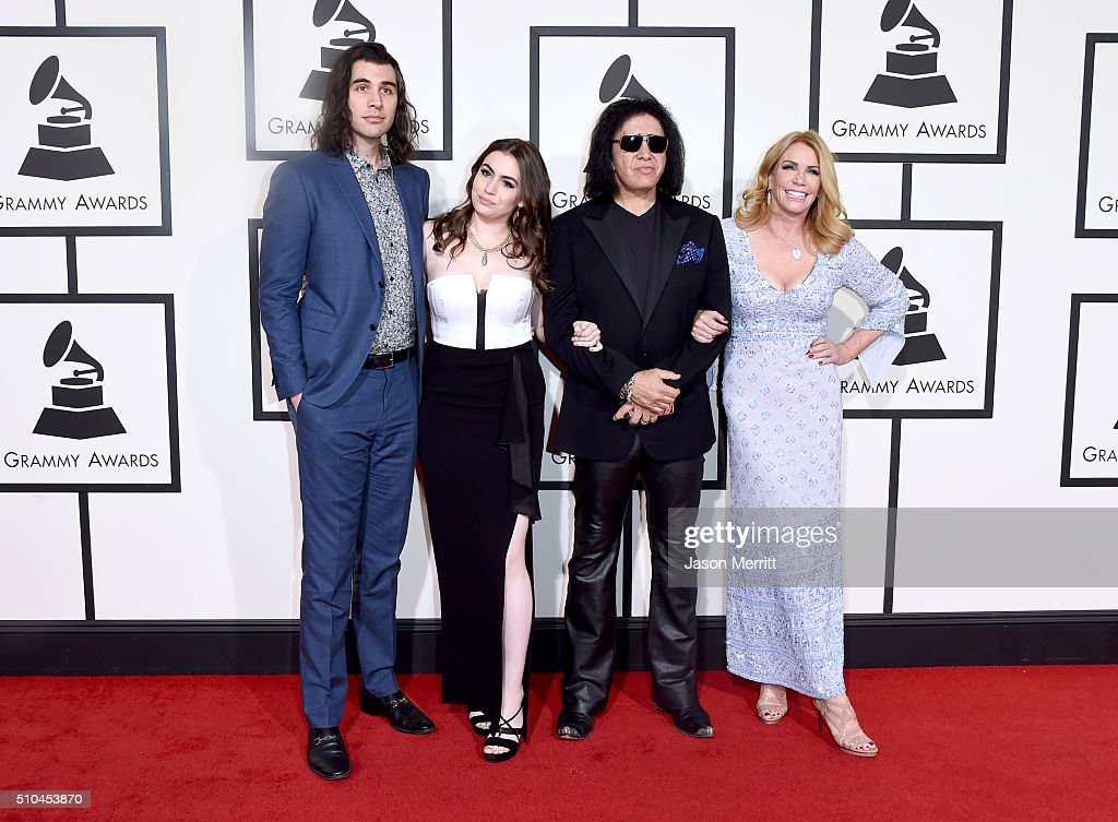 Nick Simmons Sophie Simmons musician Gene Simmons and actress Shannon Tweed attend The 58th GRAMMY Awards at Staples Center on February 15 2016 in...