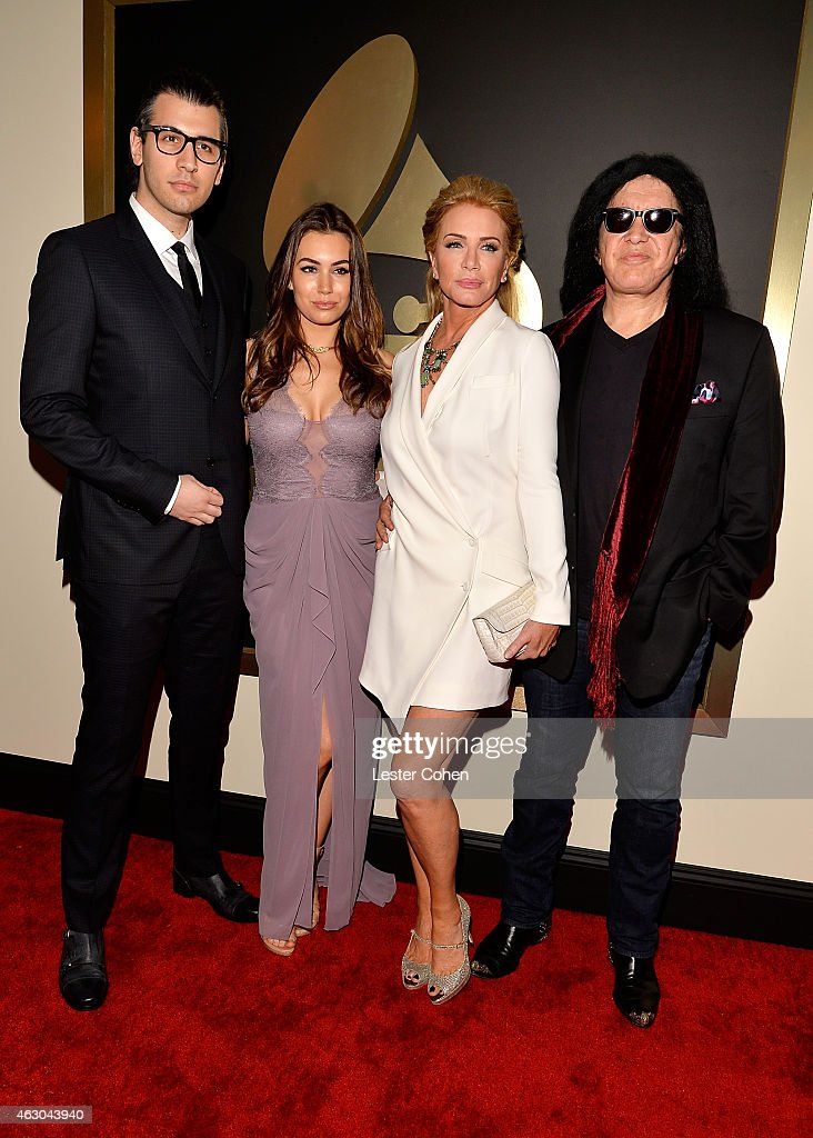 Nick Simmons Sophie Simmons Shannon Tweed and Gene Simmons attend The 57th Annual GRAMMY Awards at the STAPLES Center on February 8 2015 in Los...