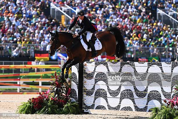 Nick Skelton of Great Britain rides Big Star during the Individual Jumping 3rd Qualifier during Day 12 of the Rio 2016 Olympic Games at the Olympic...