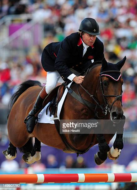 Nick Skelton of Great Britain riding Big Star competes in the 3rd Qualifier of Individual Jumping on Day 10 of the London 2012 Olympic Games at...