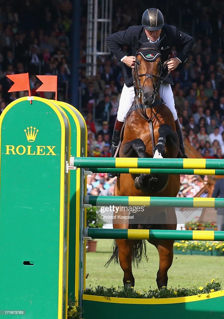 Nick Skelton of Great-Britain ride on rides ons rides on Big Star on won the Rolex Grand Prix jumping competition during the 2013 CHIO Aachen tournament on June 30, 2013 in Aachen, Germany.