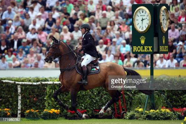 Nick Skelton of GreatBritain ride on rides ons rides on Big Star on won the Rolex Grand Prix jumping competition during the 2013 CHIO Aachen...