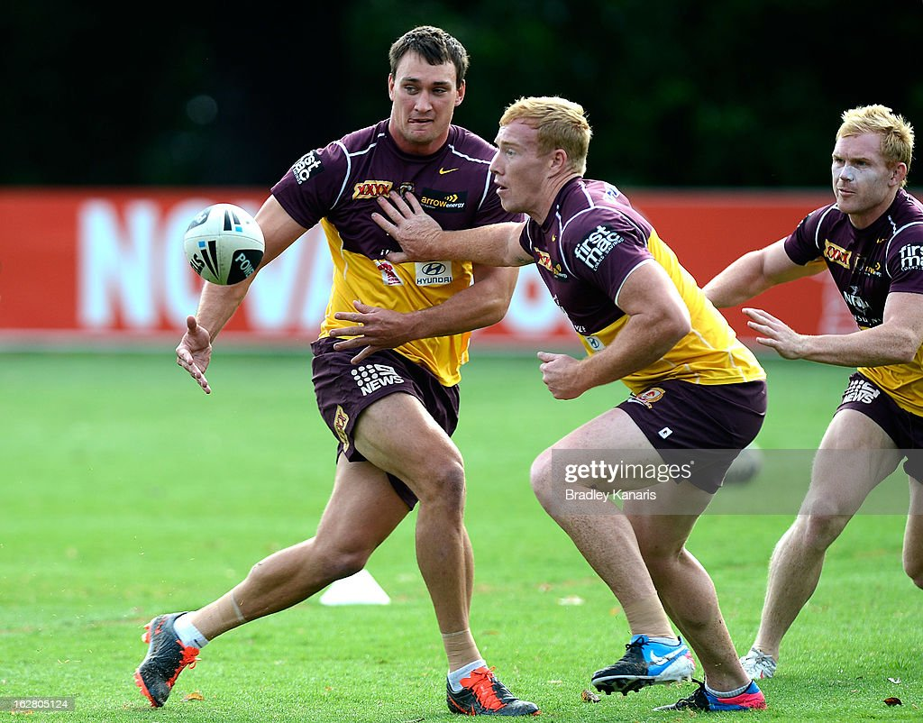 Nick Slyney passes the ball during a Brisbane Broncos NRL training session on February 28, 2013 in Brisbane, Australia.