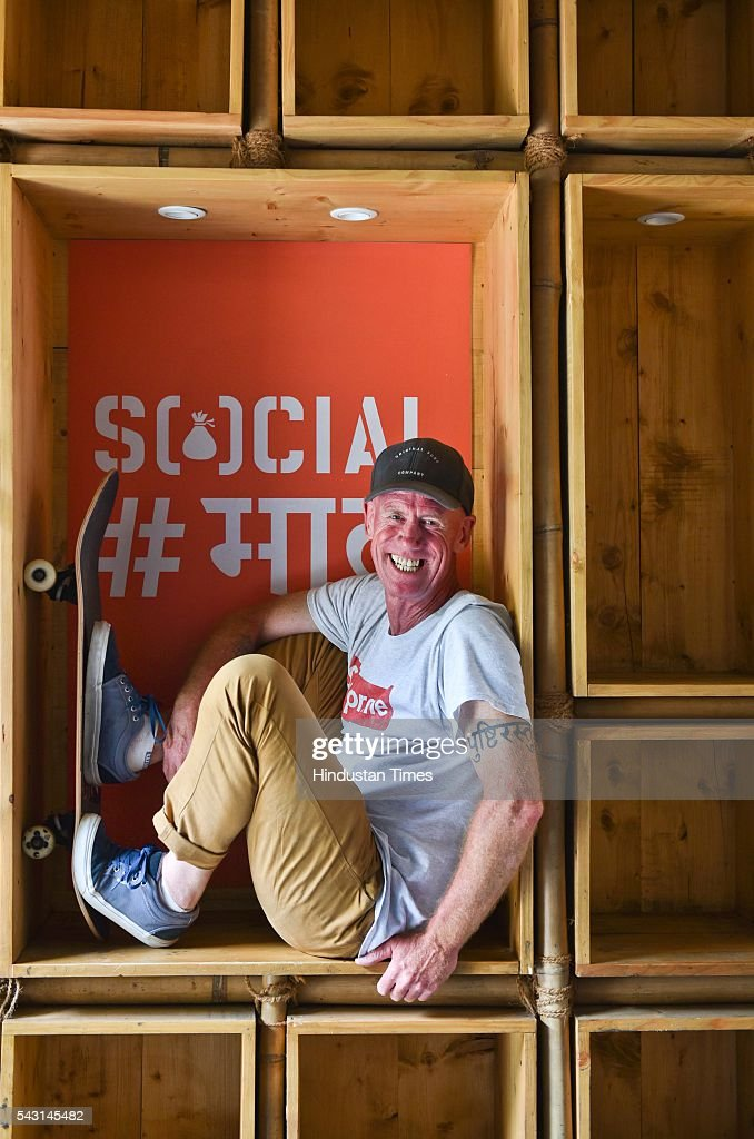 Nick Smith (52), a British skateboarder, and now called the 'godfather of Indian skateboarding' in this small circle, during an exclusive interview with ht48hours-Hindustan Times, at Khar Social, on May 21, 2016 in Mumbai, India. Smith, who is also the founder of the Advaita Collective, has been a major facilitator in Mumbai's skateboarding scene. He started skateboarding at the age of 10 in Brighton, a city on the south coast of England that boasts of 15 skate parks for a population of 3,00,000. Smith, who runs a skate shop called BRGTN in Seawoods, is also planning to introduce boards made in India.