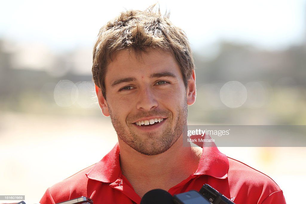 Nick Smith speaks to media during a Sydney Swans media session at Coogee Beach on September 9, 2012 in Sydney, Australia.