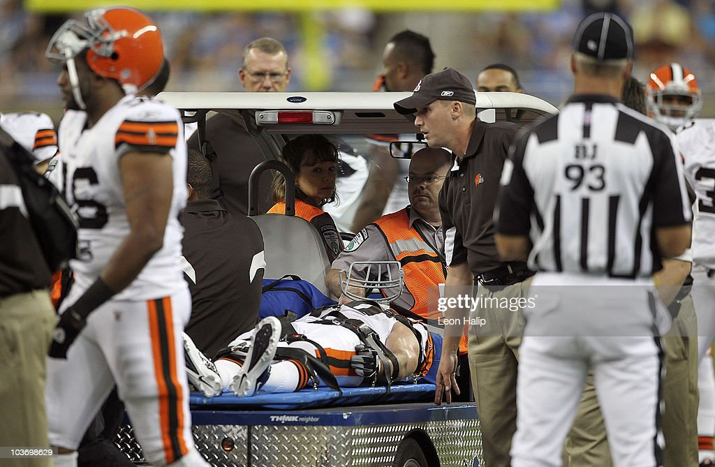 Nick Sorensen #27 of the Cleveland Browns leaves the field on a stretcher after an injury during the second quarter of a preseason game against the Detroit Lions at Ford Field on August 28, 2010 in Detroit, Michigan.