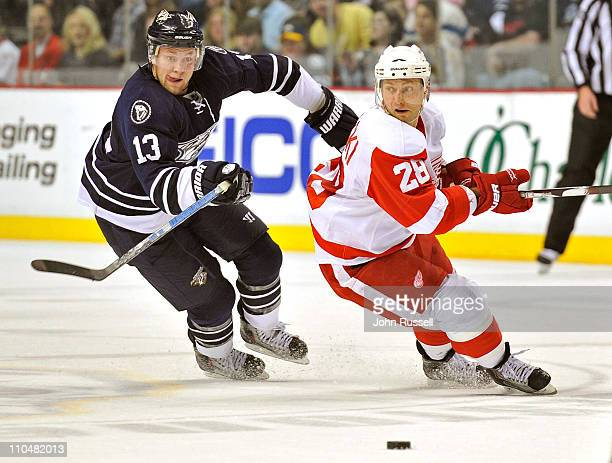 Nick Spaling of the Nashville Predators battles for the puck against Brian Rafalski of the Detroit Red Wings during an NHL game on March 19 2011 at...