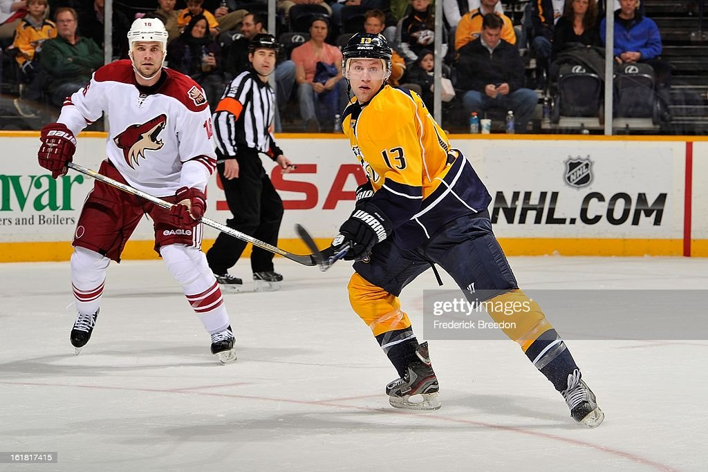 Nick Spaling #13 of the Nashville Predators skates against the Phoenix Coyotes at the Bridgestone Arena on February 14, 2013 in Nashville, Tennessee.